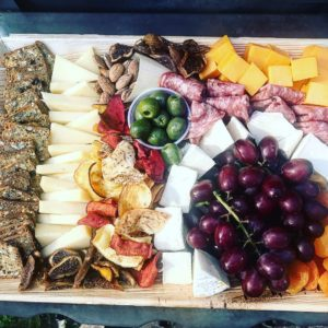 Grazing Tray with cheese, grapes, crackers